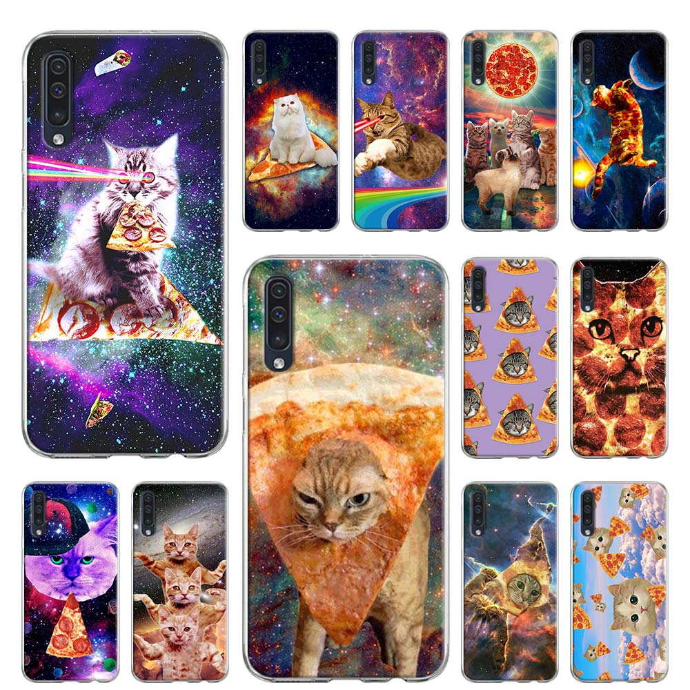 Soft Case For Samsung Galaxy A51 A71 A50 A70 A10 A20 A30 A40 A11 A21 A31 A41 5G 2020 Coque Cover Rainbow Pizza Cat In Space
