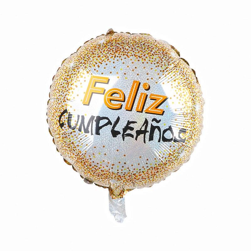 10 шт 18 Inch круглый Форма испанский Feliz cumpleaños С Днем Рождения украшения из материала майлар Фольга воздушные шары с гелием вечерние поставки-5