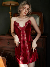 Outono/inverno sexy camisola de veludo laço tentação do vintage mulher pijamas roupa interior casamento noite sling nightdress nighty