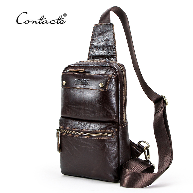 CONTACT'S Genuine Leather Chest Bag For Men Crossbody Bags With Headphone Hole High Quality Travel Organizer Male Shoulder Bags