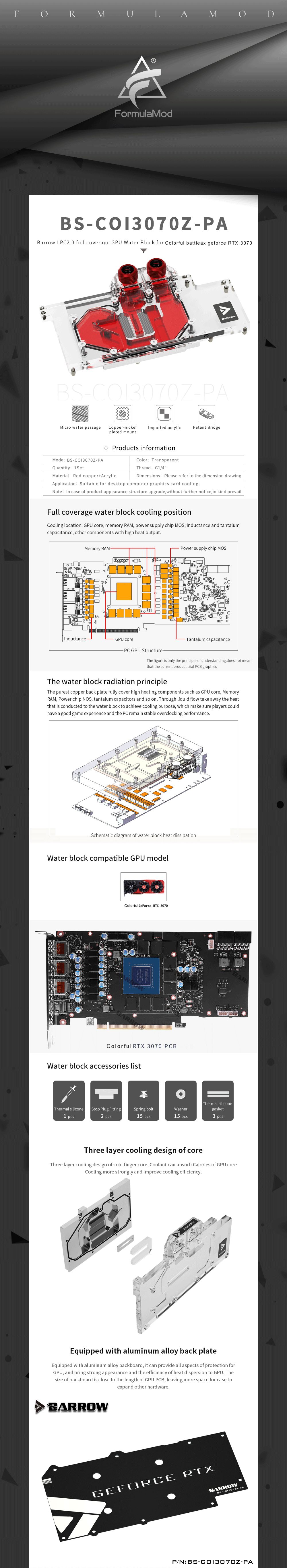 Barrow 3070 GPU Water Block for COLORFUL Battle-AX RTX 3070, Full Cover ARGB GPU Cooler, BS-COI3070Z-PA