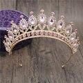 Herrliche Rosa Kristall Stirnbänder Königin Diademe und Kronen Braut Hairband Mädchen Prom Party Hochzeit Haar Schmuck Zubehör Haarschmuck    -
