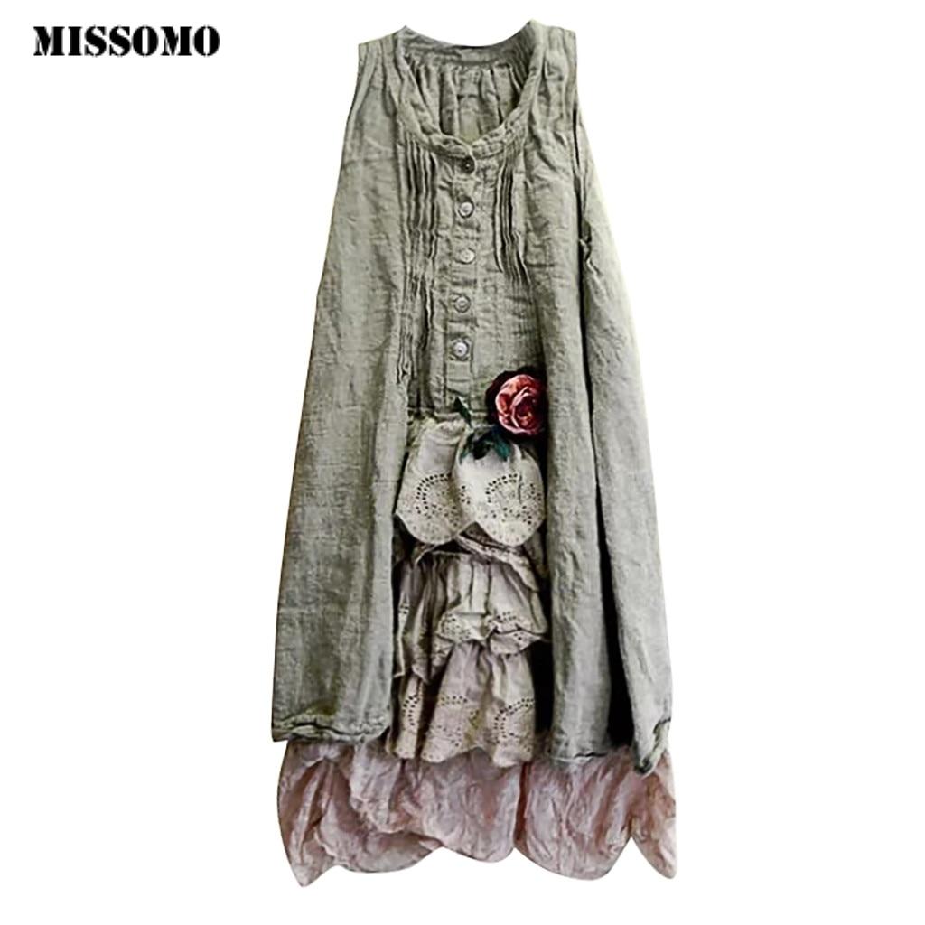 MISSOMO Summer Dresses Women O-Neck Sleevelss Pachwork Botton Women Dress Girl Clothes Vestidos Dress Plus Size 5XL 11