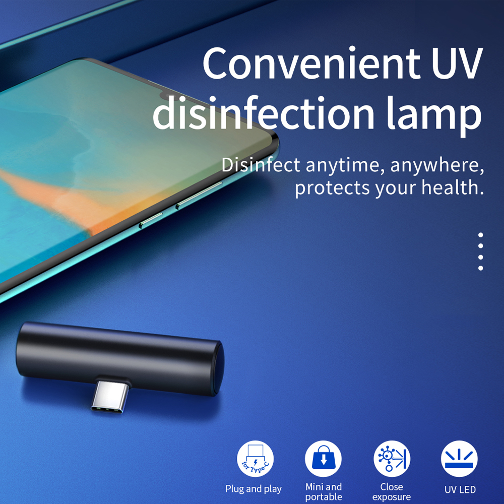 Hot DealsHOCO Mini Portable UVC Disinfection UV LED light mobile phone USB interface plug power Handheld Sterilize UVC 270nm for Xiaomi