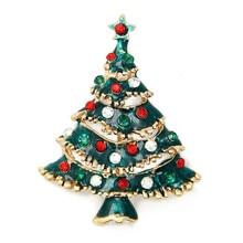 New Fashion Christmas Brooches For Women Enamel Rhinestone Christmas Tree Brooch Pins Xmas Jewelry Gift enamel bird shape with rhinestone on branches brooches