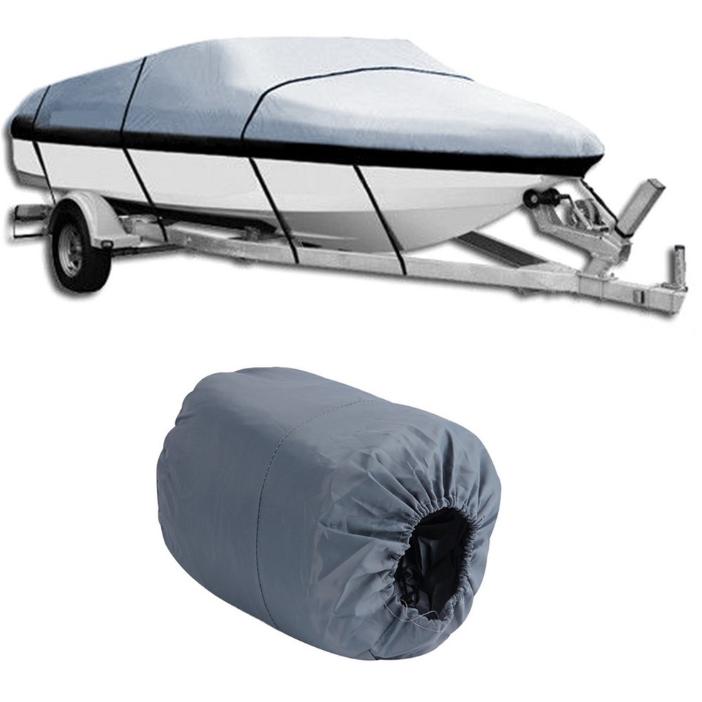 Universal 17-19ft Waterproof Heavy Duty 210D Oxford PU Coated Fabric Trailerable V Shape Gray Boat Cover Ship Accessory
