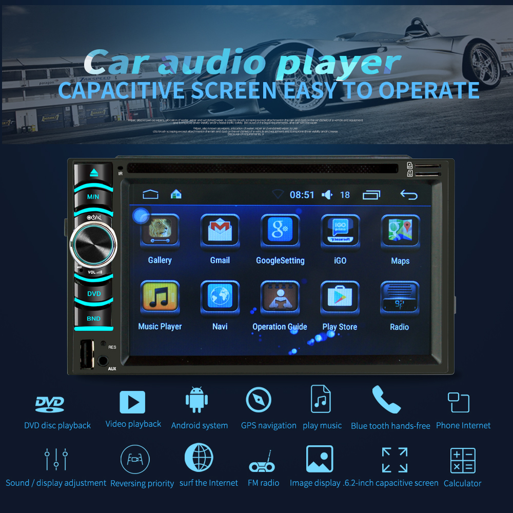 Image 5 - 6.2 Inch Android Car GPS Navigation 2 Din Autoradio Radio Universal Car Multimedia Player DVD BT FM Mirrorlink Stereo Audio 6116-in Vehicle GPS from Automobiles & Motorcycles