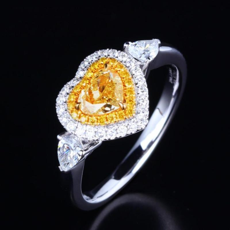 Silver Color Forever Love Wedding Rings Women Yellow Heart AAA Crystal Stones Charm Finger Jewelry Ring