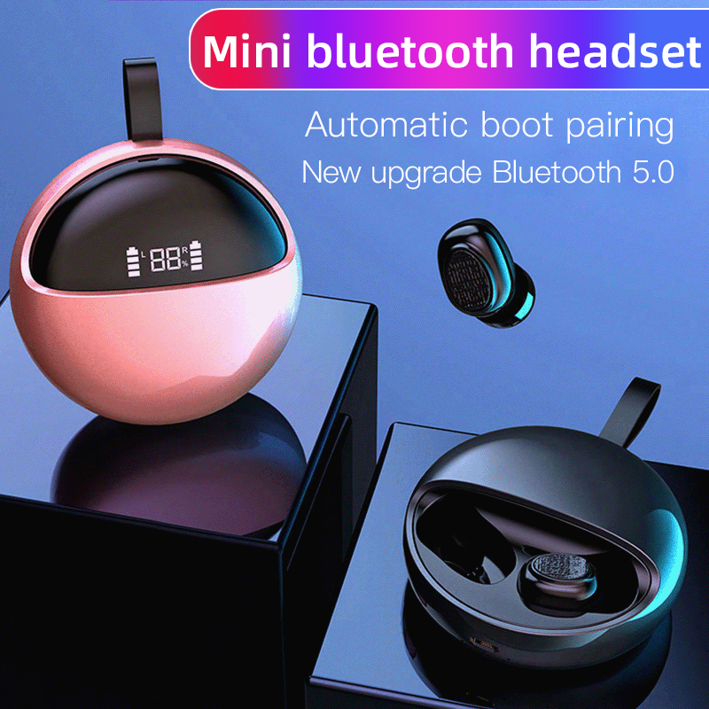 LED display In Ear TWS Earphone round style Bluetooth V5.0 Touch Control Earbuds with ring portable Headset for android ios(China)