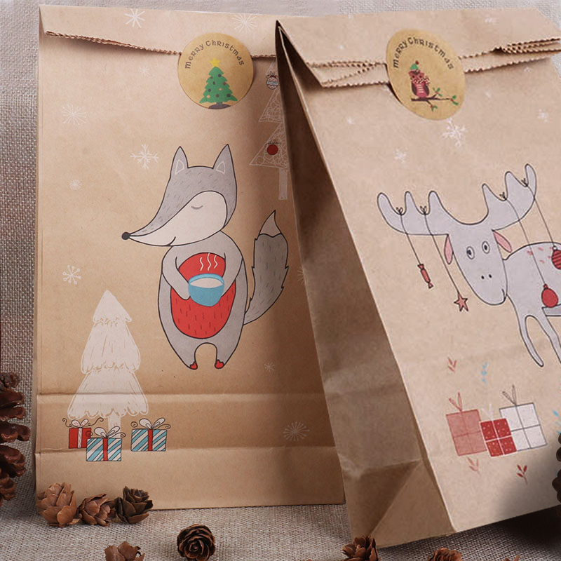 13pcs Christmas Bags Treat Kids Or Guests Gift Bag With Christmas Tree Sticker Candy Packing Navidad Decoration Merry Xmas Natal