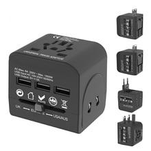 цена на Universal Travel Adapter All-in-one International Power Adapter Charger With 3 USB Ports For US/EU/AU/UK