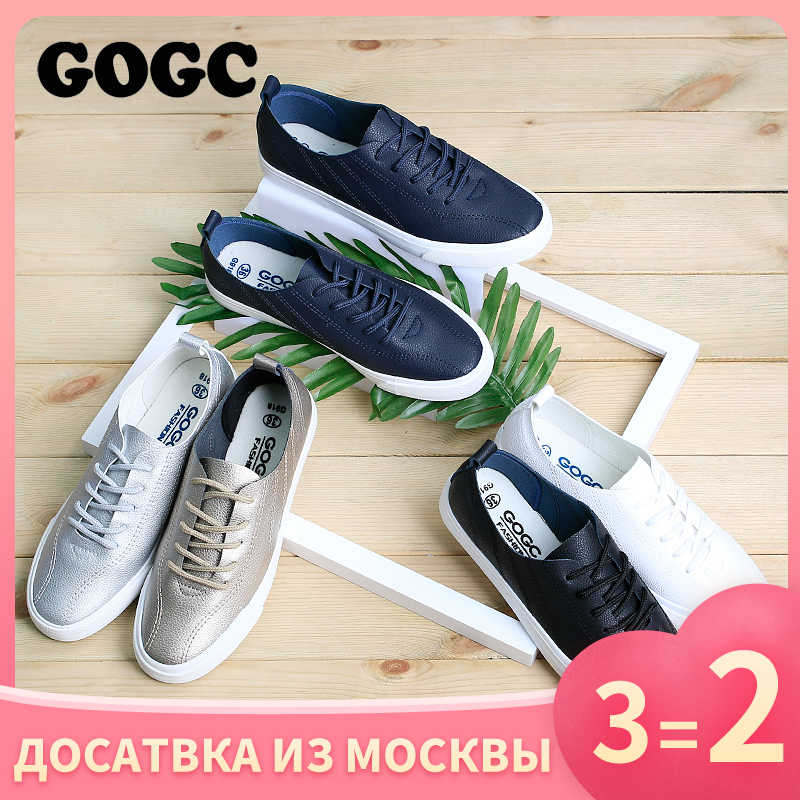 GOGC Soft Luxury Shoes Women Sneaker Designers Flat Shoes Women Leather Autumn New Female Slipony Lace up White Women's Shoes918