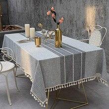 Toalha de mesa de algodão e linho, sem rugas e à prova de desvanecimento, pode ser usada para refeições internas e exteriores