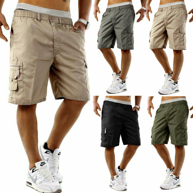 2019 Men Summer Shorts Loose Casual Solid Color Half Pant Stretch Slim Fit Short Trouser Beach Holiday Workout Casual Shorts New