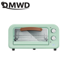 Dmwd mini forno elétrico do agregado familiar multifunções pizza bolo cozimento grill fogão 60 minutos temporizador torradeira de aço inoxidável 2 camadas
