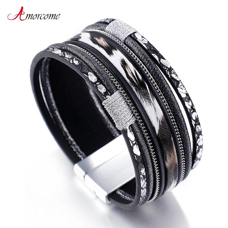 Amorcome Black White Leopard Leather Bracelets for Women 2019 Boho Ladies Bohemian Wide Wrap Bracelet Female Jewelry
