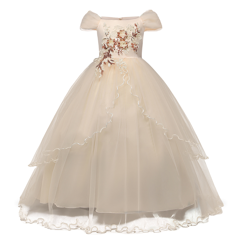 Children Wedding Dress Girls First Holy Communion Formal Long Gown Appliques Lace Princess Party Prom Dresses for Girls 6-14yrs 6