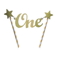 Cute Unique Glitter Star One years old 1st Happy Birthday Cake Topper Bunting Banner Decorating Party accessory(China)