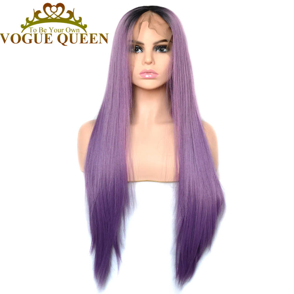 Vogue Queen 13×6 Lilac Purple With Black Root Long Straight Synthetic Lace Front Wig Cosplay For Women