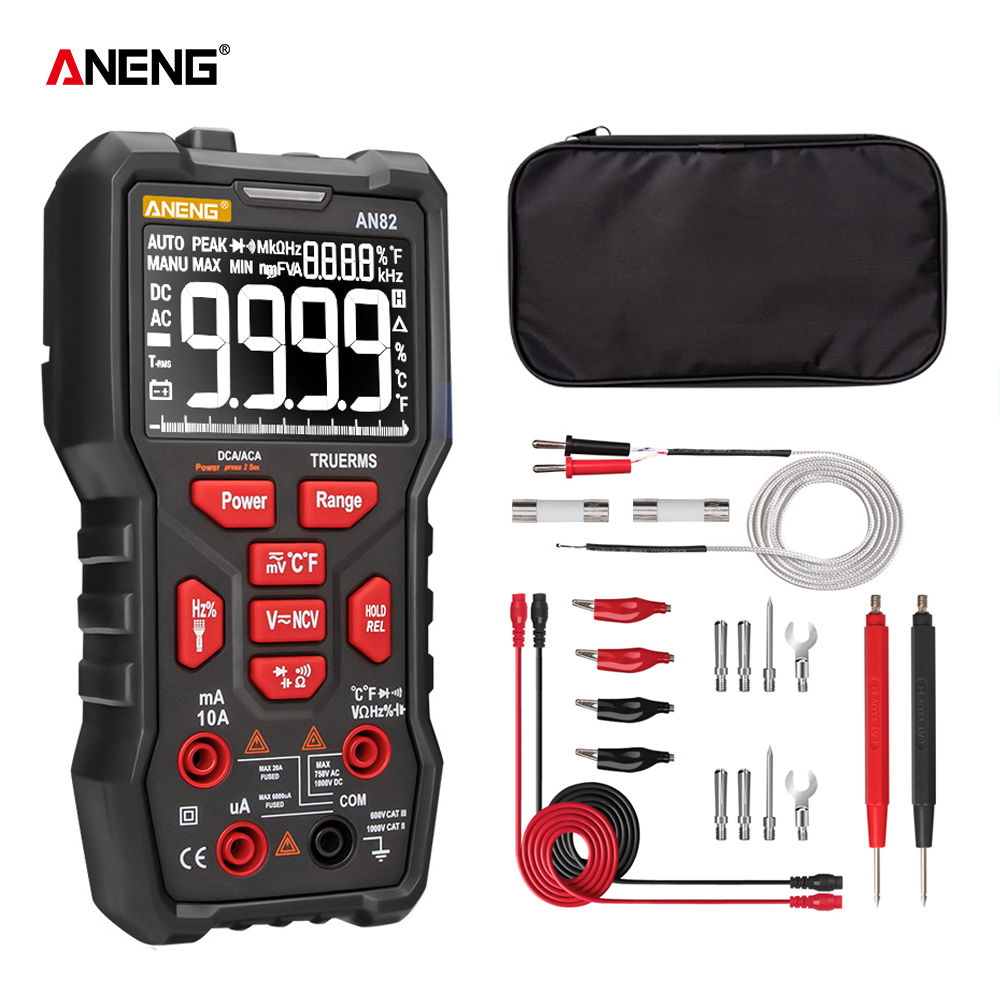 ANENG AN82 Digital Multimeter Professional 9999 Tester Esr DIY Transistor Capacitor NCV Testers True RMS Analog Meter Multimetro