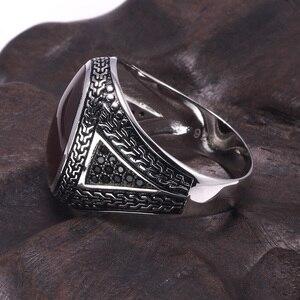 Image 2 - Anillos de plata auténtica para hombre, anillos de plata s925 Retro Vintage grandes turcos para hombres con piedras turcas de Color, joyería para hombres