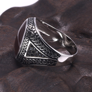 Image 2 - Real Pure Mens Rings Silver s925 Retro Vintage Big Turkish Rings For Men With Color Stones Turkish Jewellery Anel Masculino