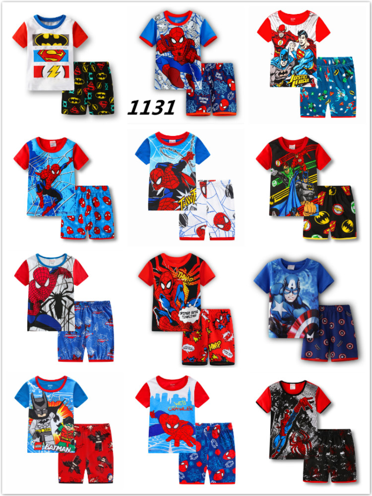 Kids Boys Girl Clothes Baby Pajamas Summer Cotton Short Sleeve Pyjamas Pijamas Set Cartoon Spiderman Minnie Children's Sleepwear