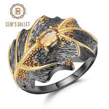 GEMS BALLET Georgia Okeeffe Leaf Ring 0.81Ct Natural Citrine 925 Sterling Silver Handmade Design Rings for Women Bijoux
