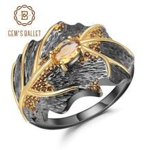 GEMS BALLET Georgia Okeeffe Leaf Ring 0.81Ct Natural Citrine 925 Sterling Silver Handmade Design Rings for Women Bijoux
