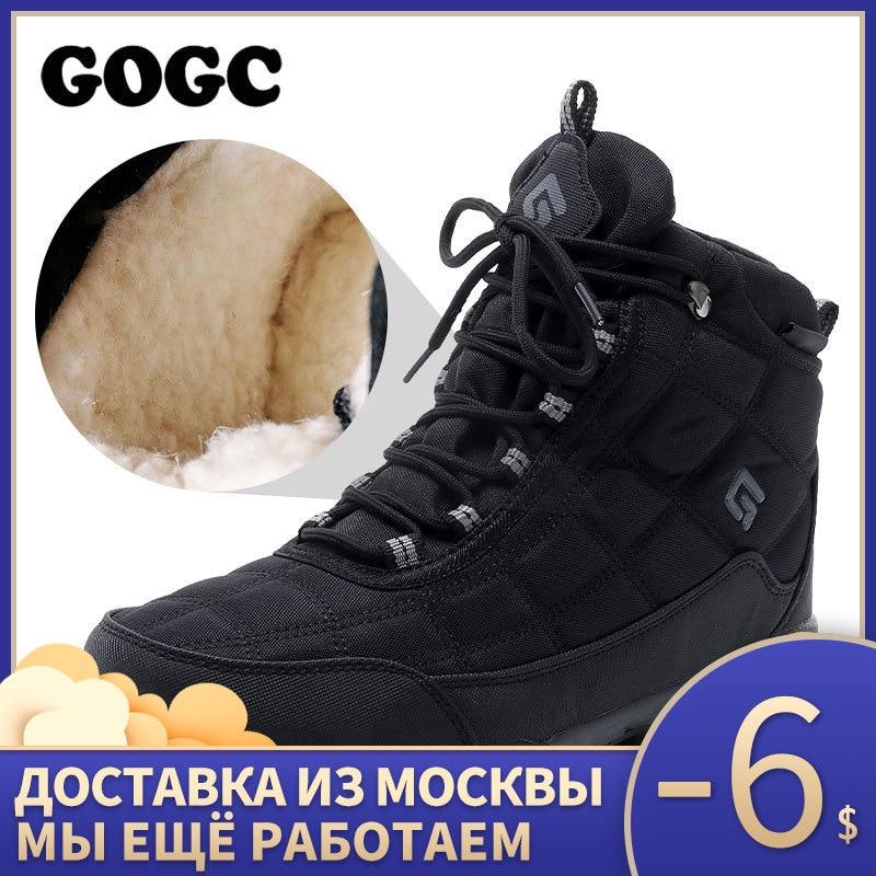 GOGC Men Winter Shoes Warm Winter Shoes For Men Nylon Winter Boots Men With Fur Warm Snow Boots Men's Casual Shoes Men G9909