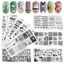 PICT SIE Rechteck Nagel Stanzen Platten Rose Blume Muster Nagel Bild Platte Schmetterling Blatt Stempel Vorlagen Design Werkzeuge