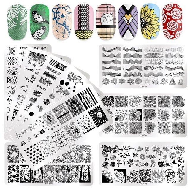 PICT YOU 직사각형 네일 스탬프 플레이트 로즈 플라워 패턴 네일 이미지 플레이트 나비 리프 스탬프 템플릿 디자인 도구
