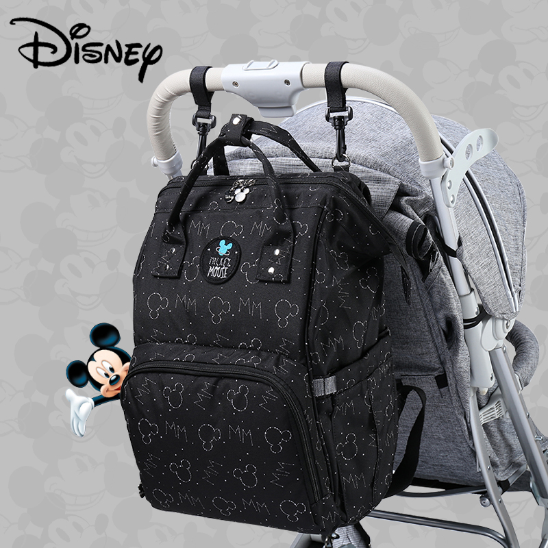 Disney Mickey USB Diaper Bag Stroller Mummy Backpack Baby Care Bags Large Maternity Nappy Bag Travel Hook Black Red Colorful New
