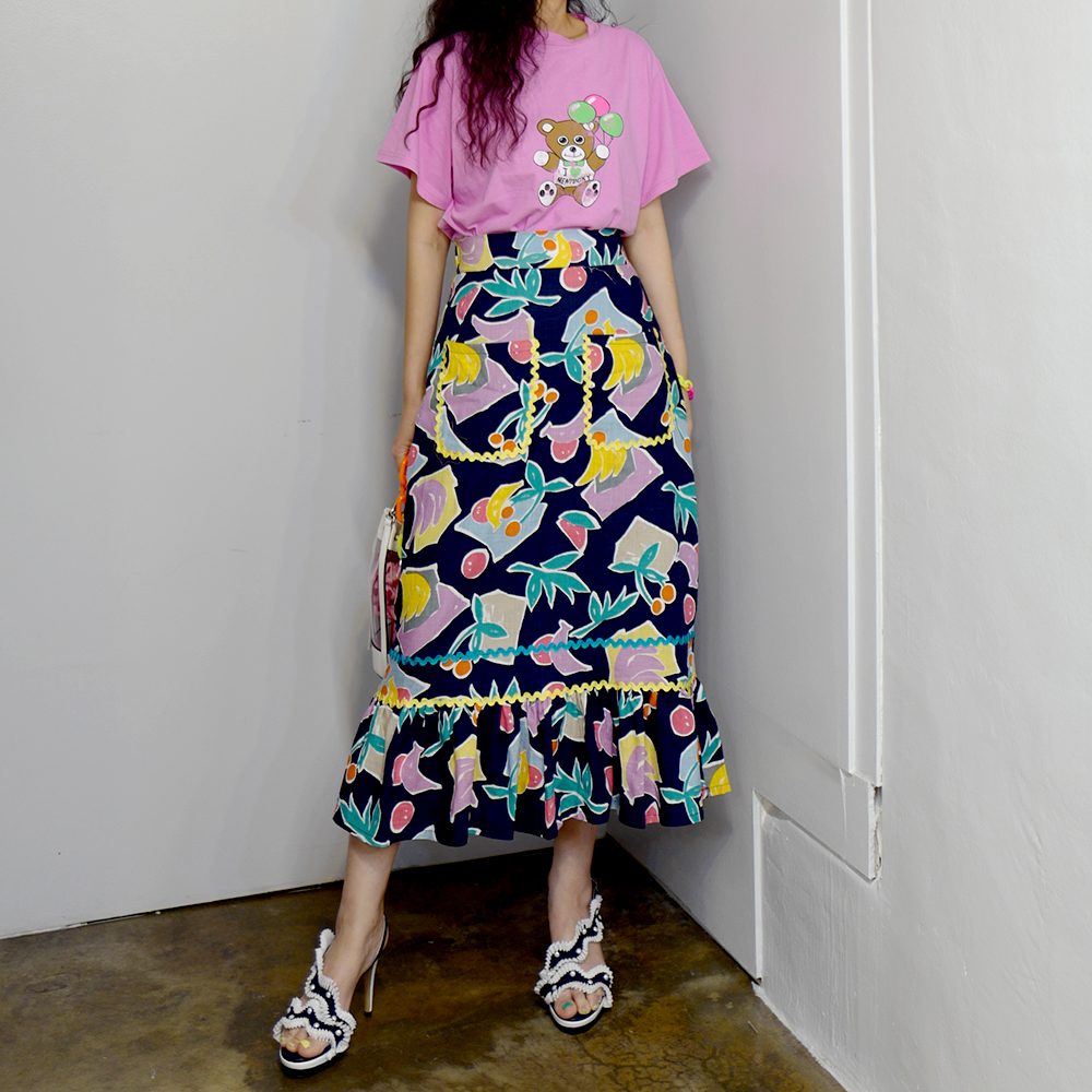 RUGOD Sweet Floral Skirt High Waist Pockets A-line Slim Skirt Sweet Naughty Fruit  Pattern Ruffle Skirt Saia Modis Mujer