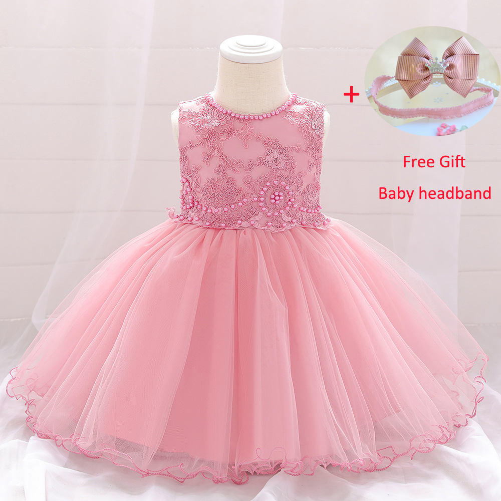 Party Dress for Infant 0-24M Baby Girl Dress 1 Year Baby Girls Birthday Dresses Lace Pageant Vestido Baptism Princess Dress