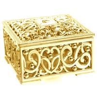 Fashion 100Pcs Luxury Golden Square Candy Box Treasure Chest Wedding Favor Box Party Supplies