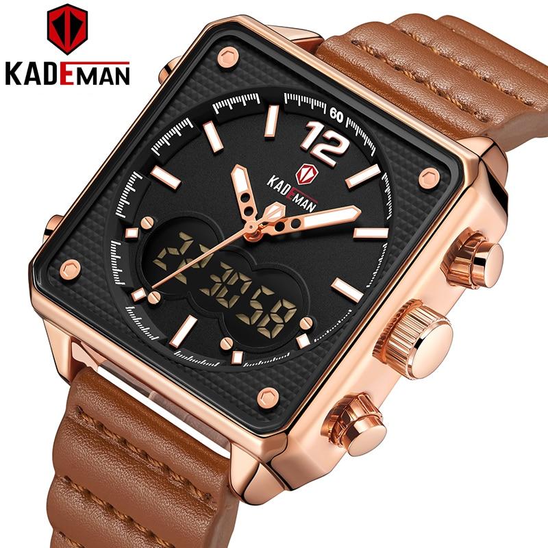 KADEMAN мужские часы новые спортивные роскошные квадратные 3ATM высшего качества
