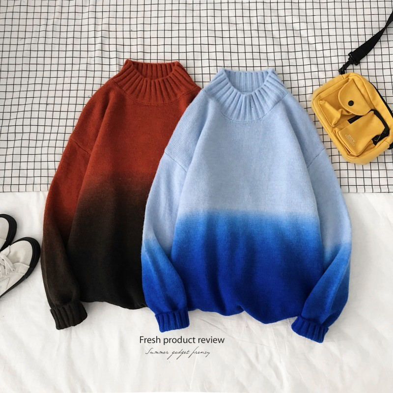 Autumn Stand Collar Sweater Men's Fashion Gradient Casual Knit Sweater Man Streetwear Loose Long Sleeve Pullover Male Clothes