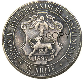 1897 German East Africa 1/2 Rupie Coin Guilelmus II Imperator Silver Plated Copy coin image