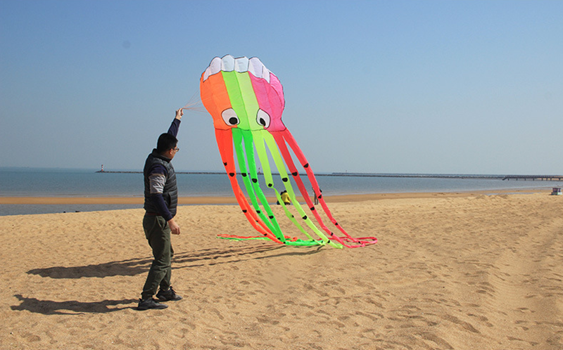 8m grand coloré poulpe ventilation ceinture poignée ligne cerf-volant surf mignon animal cerf-volant adulte jouets amusants pour enfants pieuvre cerf-volant