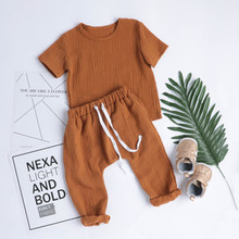 2pcs Toddler Baby Girls Boys Clothes Set Solid Tops T-Shirts+Pants Kids Children Outfits Summer Home Cotton Linen Casual Oufits 1 2 3 4 year boys clothes 2018 new cotton casual kids outfits star shirts stripe pants 2pcs baby children clothing set