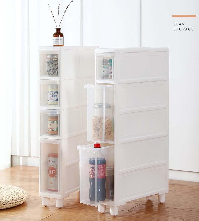14cm Ultra Narrow Seam Shelf Kitchen Refrigerator Gap Bedside Narrow Cabinet Toilet Drawer Type Seam Storage Cabinet Pp Material