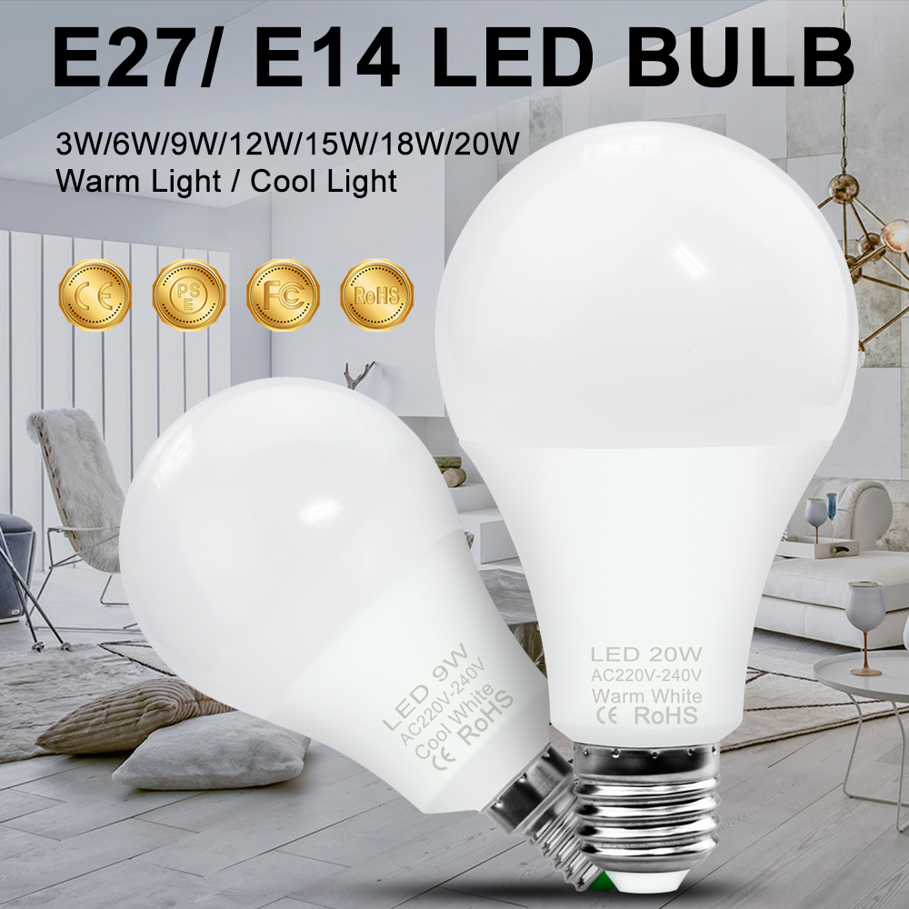 E27 Led Light Bulbs E14 LED Lamp 220V Ampoule LED Spotlight Bulb 3W 6W 9W 12W 15W 18W 20W Ball Bulb 240V Spot Light Lighting