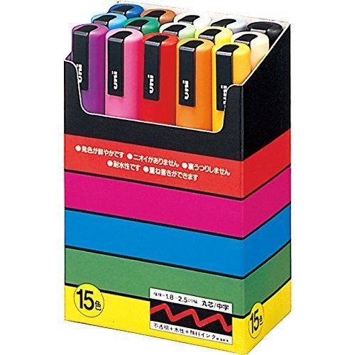 Uni POSCA marqueur moyen 15 couleurs ensemble PC-5M 15C Mitsubishi crayon à base deau