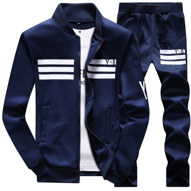 Men's 2020 Autumn Running Large Size 8XL 9XL Long Sleeve Print Baseball 2-piece Set Jogging Fitness Sports Suit