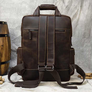 Genuine Leather Man Backpack Casual cow Leather 16 inch laptop Rucksack School Bag extra large Cowhide Daypack big tavel bag