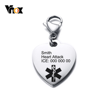 Vnox Free Engraving Heart Shape Medical Alert ID Key Chains for Men Women Emergency Reminder Jewelry
