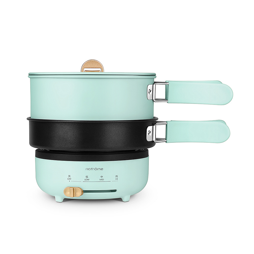 220V Collapsible Electric Multicooker Mini Portable Folding Hot Pot Double Layer Cooking Pot For Travel Household Rice Cooker