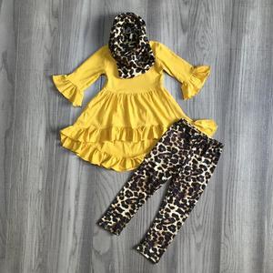 Image 4 - Nuevo otoño/invierno Bebé niñas 3 piezas bufanda niños ropa mostaza leopardo vestido top algodón manga larga trajes volantes boutique