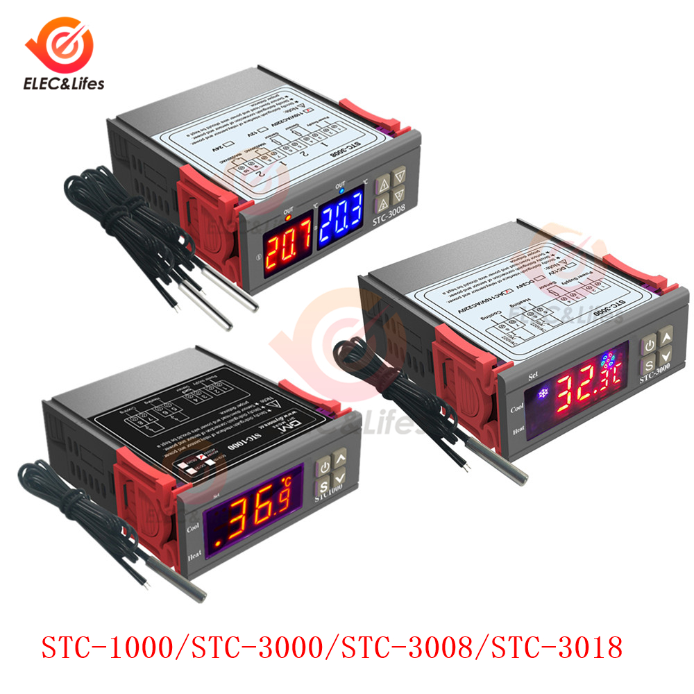 STC1000 Temperature Thermostat Controller With Probe 1M High Temp Alarm DC12-72V